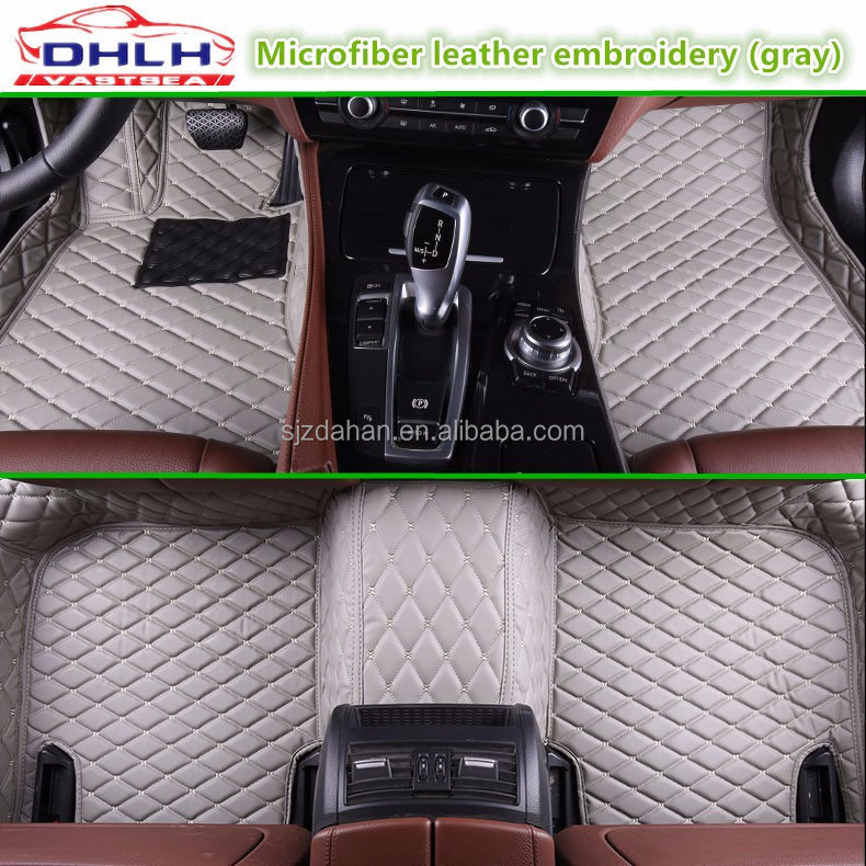 Embroidered leather coffee 5D car floor mats for HONDA ODYSSEY Car rear bin pad