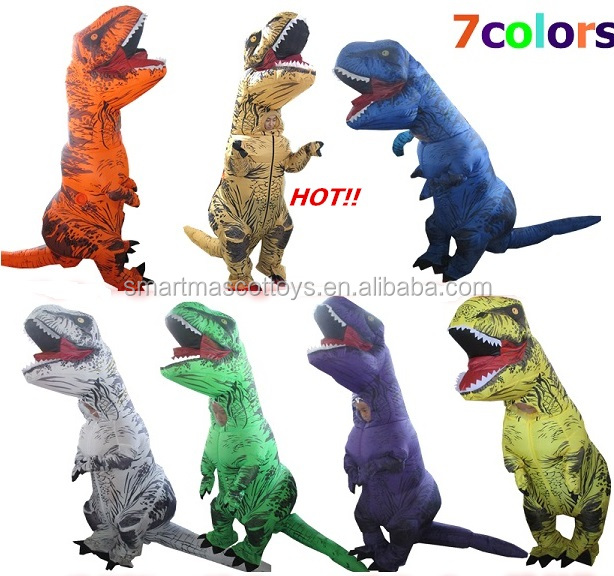 7 colours kids adult t-rex dinosaur costume inflatable