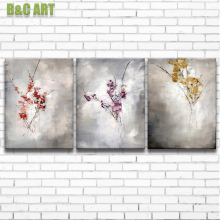 3 Panels Wall Art Abstract Plum Blossom Art Oil Painting for Sale