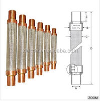 Vibration Absorber Flexible Stainless Steel Braided Hose Corrugated Pipe Flexible Pipe with Copper Coupling Bushing
