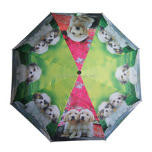 Top quality Three folding cute dogs printing umbrella for gifts