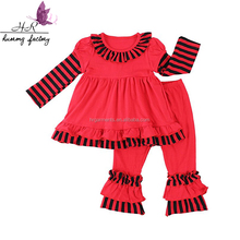 2017 Fashion Fall Spring Baby Girls Outfit 2 Pieces Kid Long Sleeve + Stripe Ruffle Pants Children Clothes Sets