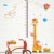 new design cartoon giraffe monkey PVC height wall sticker in stock for kids room decoration