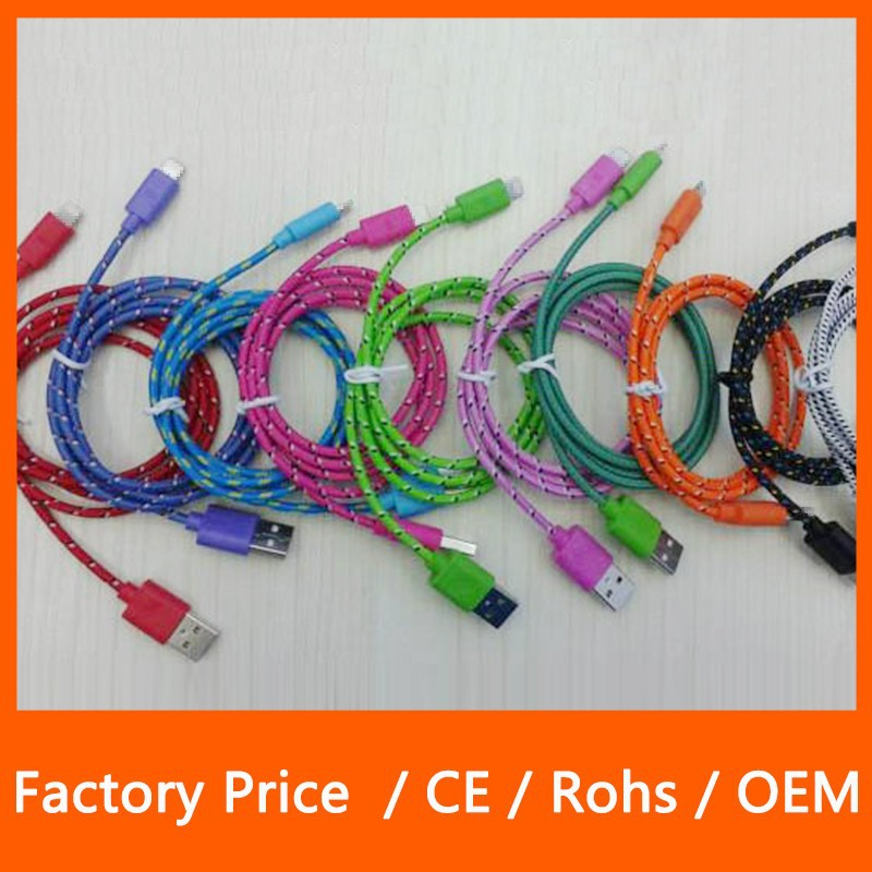 High Quality Strong Braided Extra Long 8Pin USB Data Cable Sync Charger For iPhone 5 1M