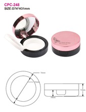 New arrival! Empty round shape foundation cushion case with metalic surface finish