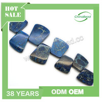 Trapezium blue imperial jasper beads loose gemstone price list