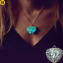 Tree of Life Luminous Necklaces Glow In The Dark Locket Silver Hollow Heart Pendent Necklace