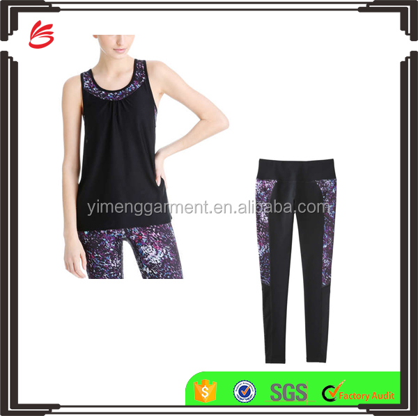 2017 Custom High Quality Floral Printing Yoga Clothing Sets for Women