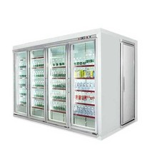 Commercial supermarket glass door modular cool & freezer rooms cold chamber for both display and storage