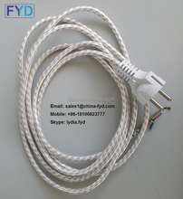 VDE approval Euro 2 pin round textile cable braided colored ac power cord with 303 on off switch