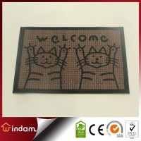 Plain color Polyester anti slip welcome animal shape door mat