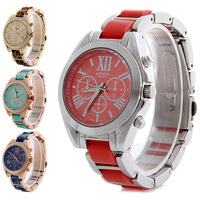Multicolor Lady Watch Band Geneva Sport Watch Stainless Steel Back Quartz Watch