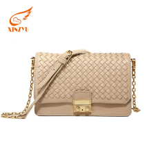 Fashion Woven Pattern Guangzhou Market Fashion Leather Ladies Handbag