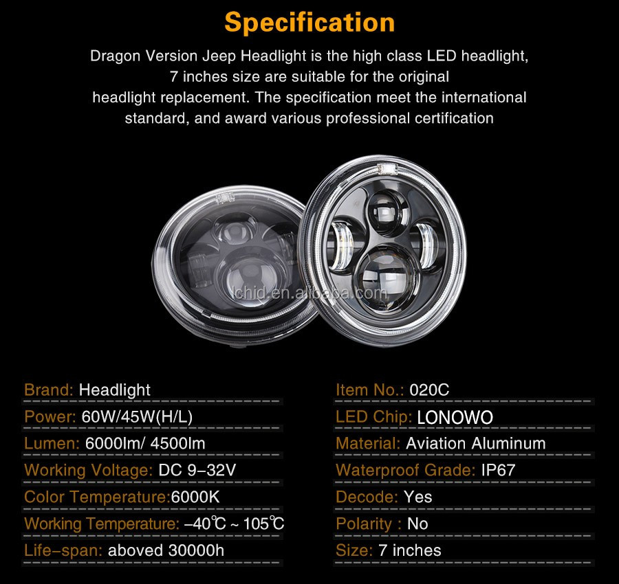 Super bright 45W 60W led headlight 7 inch round motorcycle led headlight assembly with Angel eyes for Harley Motorcycle