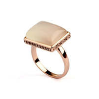 Fashion Vintage retro 18K Gold Plated Opal Rings retail, square opal ring