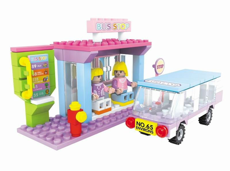 Mini Bus Stop building blocks toys,plastic toy bricks