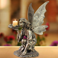 Large high quality resin antique bronze angel candle holder