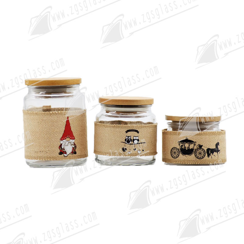 Template 1000ml 500ml 250ml Cheap Glass Storage Jar With Wood Lid