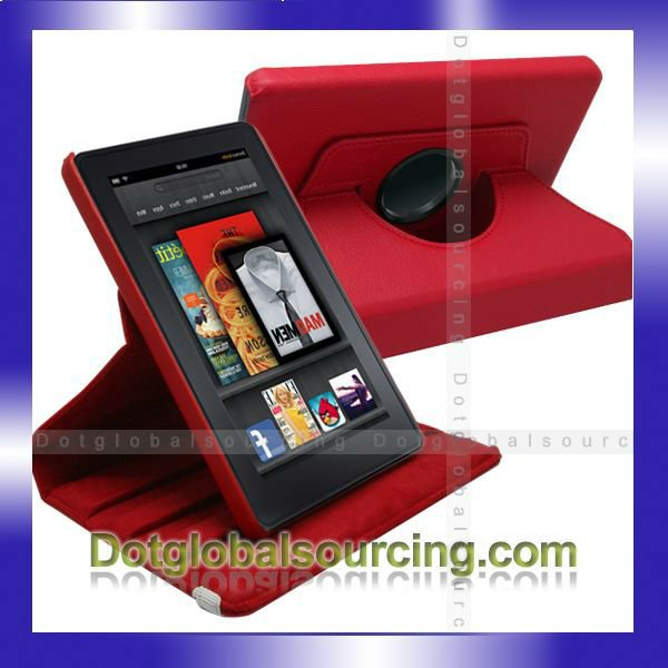 360 Degree Rotating Leather Stand Case Cover For Amazon Kindle Fire