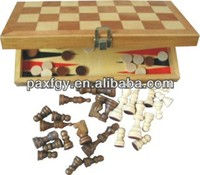 Wooden 2 in 1 combination chess game set