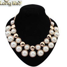 Fine Jewelry Gold bib necklace with pearl, artificial pear statement necklace, simulated pearl pendant necklace for lady