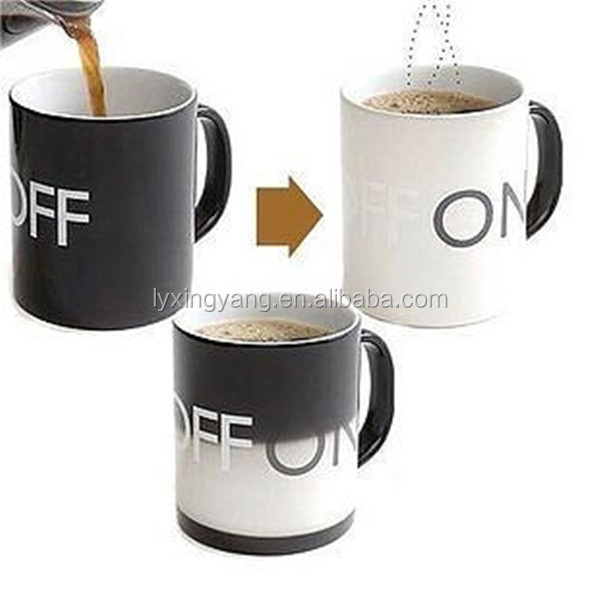 Heat transfer temperature ceramic tea cup, thermo, coffee color changing cup mug China supplier factory direct factory in Zibo
