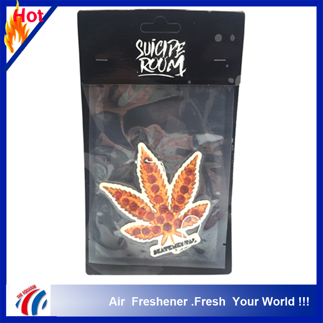 vacuum package leaf shape car scent air freshener for air conditioners,custom home feu orange car air freshener