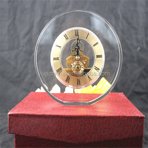 Blank Clear Glass Round Plaque K9 Crystal Desktop Clock