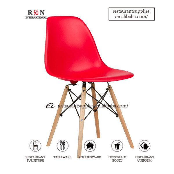 Strong And Durable Emes Chair Dining Chair Side Chair With Molded Plastic Seat Dowel Leg