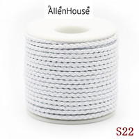 Superb professional quality OEM size white color Round Braided Wire Leather Cord String For Beading Necklaces Bracelets