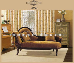 French Style Love Chaise Lounge , Classical Wood Carving Fabric Lounge