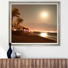 3D Printing Service Beautiful Seaside Moonlight Canvas Print Painting For Home Decor Wallpaper