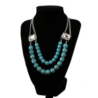2016 handmade turquoise beads statement necklace/beaded necklace women accessories