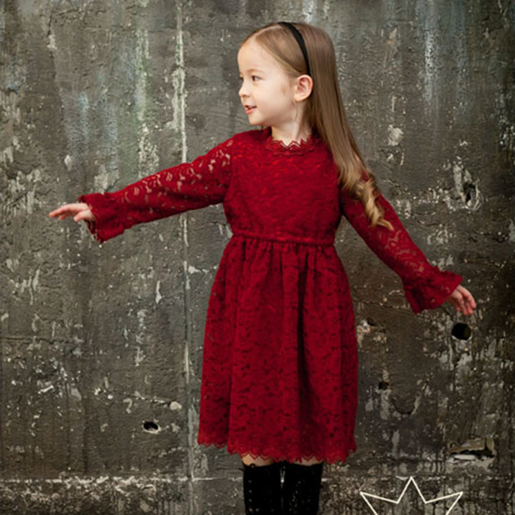 Latest Beautiful Children Long Sleeve Lace Baby Girl Winter Dresses