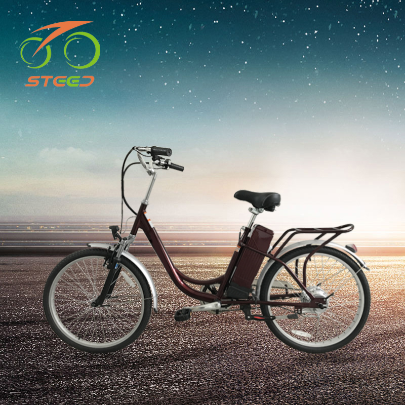 2018 Cheap electric bicycle steel frame 31-60km per power green <strong>city</strong> 24'' electric bike for women