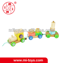 Colorful natural wooden toy train with three parts