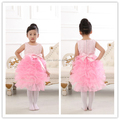 2016 latest designs champagne spring kid tutu dance style fancy high quality flower baby girls party night dress design