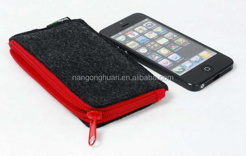 promotion mobile phone felt case with zipper