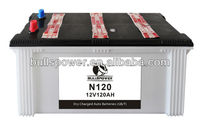 auto battery dry charged N120 12V120Ah lead crystal battery