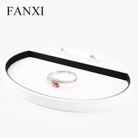 FANXI New Round White PU Leather Shop Counter Organizer Ring Necklace Bracelet Holder Serving Tray Wood Jewelry Display Tray