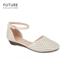 women wedge shoes flats featuring an ankle strap with a buckle closure