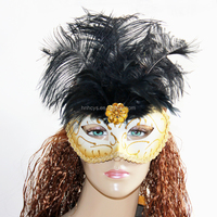 Gold Ladies Fancy Dress Party Fantasy Feather Venetian Halloween Masquerade Mask