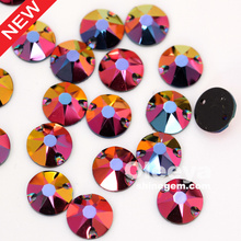 Resin AB colors sewing beads 12mm round rivoli shape resin black flat back sew on rhinestone for latest shirt designs