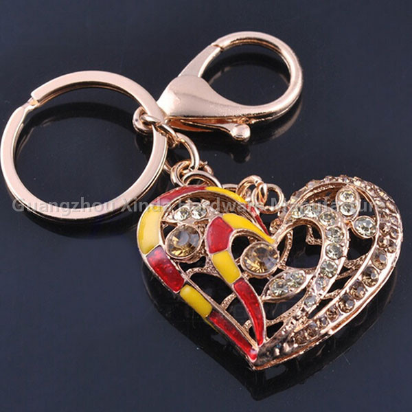 Heart shaped Crystal keychain,sublimation key chain