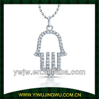 14kt WG Micro Prong Diamond Hamsa