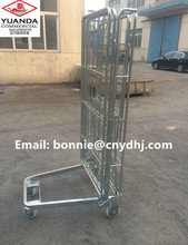 Heavy duty wire mesh steel security storage supermarket roll cage/ trolley with wheels