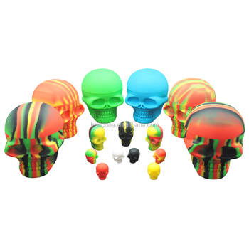 Three sizes of skull shape silicone container, mini 3ml, unique 15ml and large 500ml skull containers