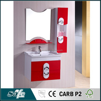 modern drop-in sink pvc bath cabinetry with wall cabinet