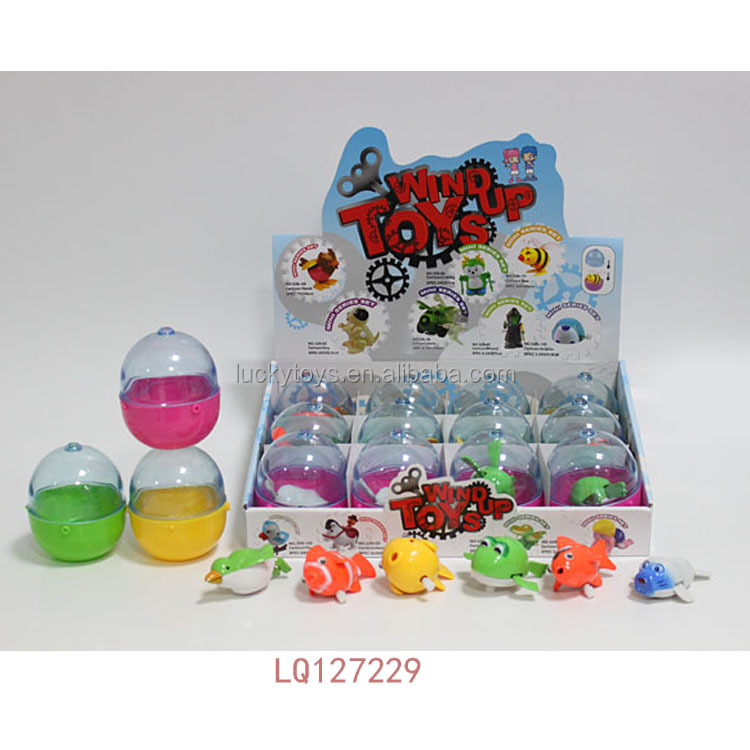 New mini toys for capsule 6 styles 12pcs wind up animals vending plastic egg capsule toy wholesale