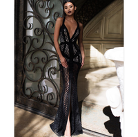 2016 new fashion top quality black and white v neck long party evening dresses floor length bodycon bandage dress winter dresses
